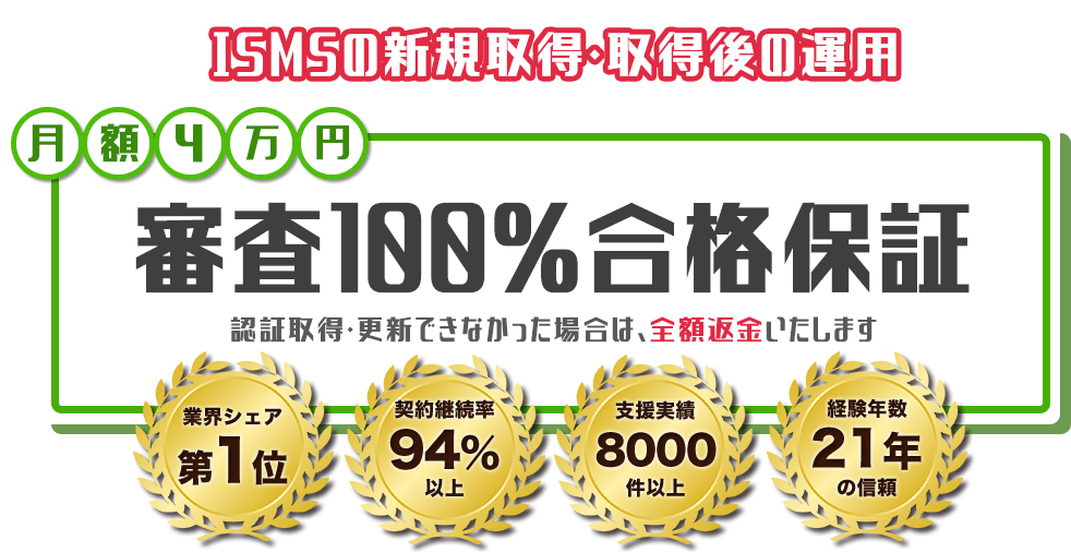 ISMS新規認証&運用代行 月々たったの3万円で全ての作業を代行します!ISMS専門15年・7000社以上の実績