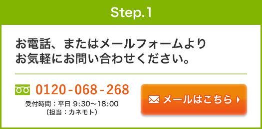 step.1:お電話、またはメールフォームよりお気軽にお問い合わせください。