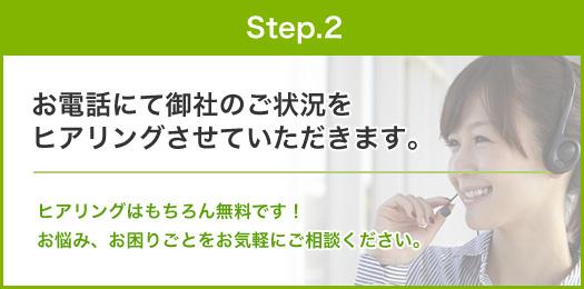 step.2:お電話にて御社のご状況を ヒアリングさせていただきます。