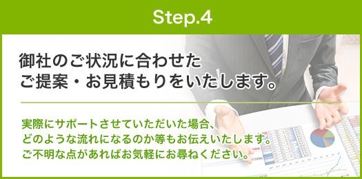 step.4:御社のご状況に合わせた ご提案・お見積もりをいたします。