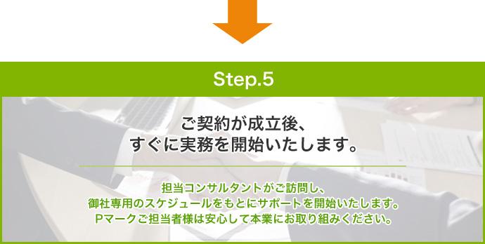 step.5:ご契約が成立後、 すぐに実務を開始いたします。